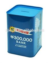 cheap fashion hot sale square tea hot sale square tea tin box/ money saving hot sale square tea tin boxes/ funny money box