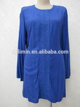 China blue kurtis arabic women kurta with embroidery and rhinestones for muslimah