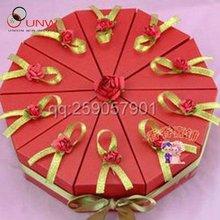 red triangle cake box wedding favor gift box