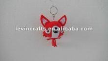 10cm promotional plush custom red fox keychain