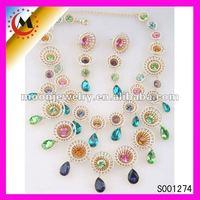 Jaipur kundan jewellery, peacock colorful sets jewelry 2012 (S001274)