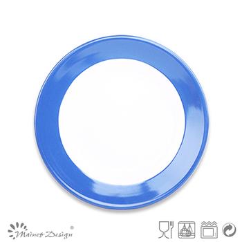 blue color band ceramic stoneware fruit plate