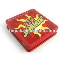 rectangular metal tin cd case with hinge custom
