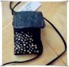 Latest design unique black leather mobile phone bag