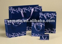 White blue color printed Euro style kraft paper bag with ribbon, paper shopping bags with ribbons,luxury paper bags for clothes