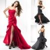 new design red strapless taffeta side draped rosette kinny short front long back prom dress with asymmetrical train ZQP101