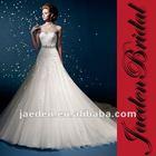 JW0332 Appliqued Design Sash Decoration Strapless Designer Bridal Dress Patterns