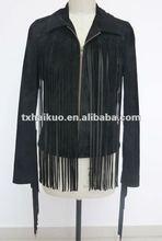 Ladies fashion black leisure tassel coat