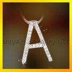 shining artificial diamond alphabet pendant silver jewelry