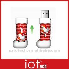 PVC Rubber Sock Shape Christmas USB Flash Memory Drive