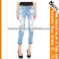 Itália jeans mulheres plus size jeans rasgado novo design jeans denim pant( hy5259)