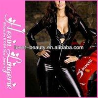 Woman 2013 Wholesale fashion lades black cheap leather corset catsuit
