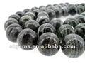 最もよく10mm AAAの等級の円形のビードの黒のシマウマの碧玉の宝石石を卸し売りしなさい