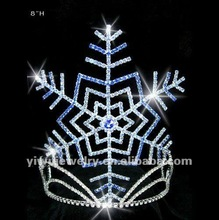 "H172-245 8"" Beautiful Christmas Snowflake Blue Rhinestone Pageant Crown&Tiaras"