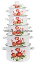 Hot Sale Customized Design Enamel Cookware Set Kitchenware Two Side Red Flower Decal Enamel Pot Set 5 Pcs Stock Pots