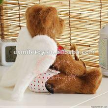 Christmas sock soft bear toy,plush angel bear,bear angel