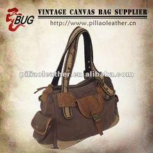 Special Washed Brown Canvas Vintage Handbag