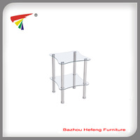 Two-Tier End Table, Clear Tempered Glass With Stainless Tube