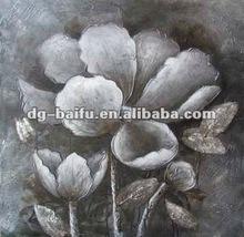 Handpainted blcak white flower high gloss effect oil painting