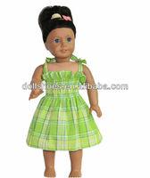 Elastic Green Plaid Sun Dress for American girl doll