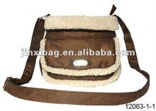 Winter Flannel & lambs wool bangkok bag with big pocket front