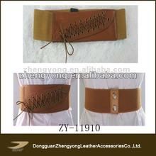 Western popular women's wide fashion fabric obi belt perforated