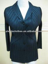 2012 black autum & winter Women's Pleated Button Front Blouse