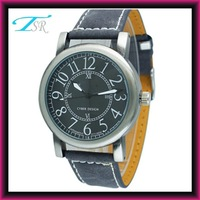 2013 hot selling mens watches with leather band accept your custom logo