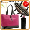 New design ostrich leather tote bag with patent leather