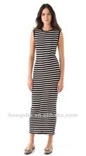 Black Striped Scoop Maxi Dress HSX1238