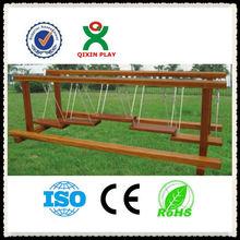 Kindergarten wood playground swing bridge and single-plank bridge QX-11059D