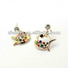 2012 trendy stylish ladies hot selling fish earrings