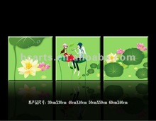 Beautiful modern boy and girl cartoon painting, group giclee canvas printing of love and lotus