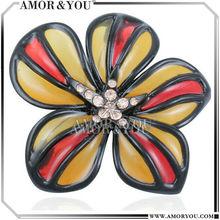Colors ethnic fusion art deco flower brooch