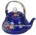 piriform yüksek kaliteli zarif mavi emaye çaydanlık Paslanmaz çelik saplı