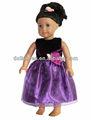 Moda negro y púrpura Vestido de la muñeca niña estadounidense de 18 pulgadas