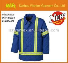 Men's 100% polyester waterproof safety reflective blue work wear