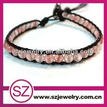 Leather single wrap bracelet 2013 popular beaded bracelets
