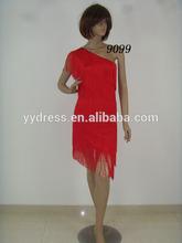 One Shoulder Latin Dance Dresses Tassels Costumes