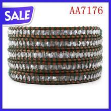 2012 fashion beads wrap leather bracelet, long wrap bracelet with stone