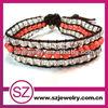 NTB0266 Beautiful fashion new design personalized popular wraps genuine leather gemstone bracelet 2014 for whosales