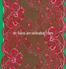 2015 new unique design rose-bengal soft net lace