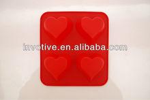 4 heart shape food grade standard 100% silicone bakeware manufacturer