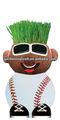 pote de plástico artesanal de crescimento de uma cabeça de grama de beisebol lembranças