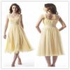 tea length yellow prom dresses cocktail dress beach wedding dress