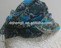 2014 moda lã impressão lenço bordado