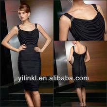 siyah renk spagetti kayış yuvarlak boyun dantelli etek rahat 2014 yeni moda diz boyu anne gelin elbiseler