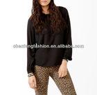 Rhinestoned High-Low chiffon blouse black CB0527