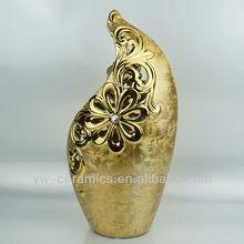 Morden Design Ceramic Vase Gold Plated