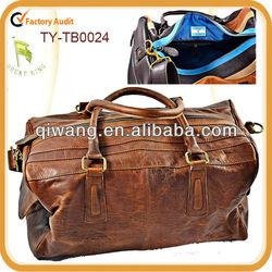 Retro genuine leather sports bag for men